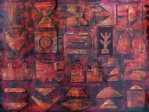 Peinture collage et patine : 2 créations de Françoise Fourcault (cliquez pour agrandir)