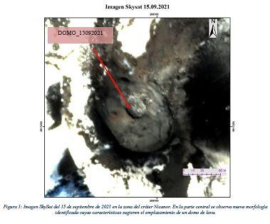 Nevados de Chillan - 3° dôme identifié sur une image satellite SkySat - Doc. Sernageomin