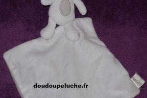 Doudou lapin blanc gris, Nicotoy, Fais dodo mon petit lapin - www.doudoupeluche.fr
