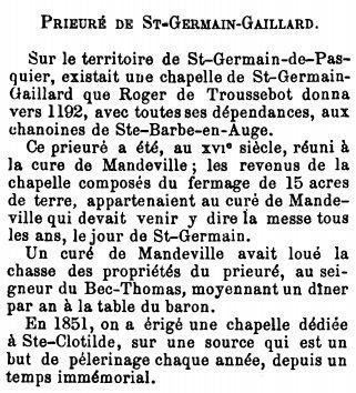 Copie de la notice dévolue à Saint-Germain-de-Pasquier dans le tome II du Dictionnaire historique de toutes les communes de l'Eure, œuvre de Louis-Étienne Charpillon et Anatole Caresme parue en 1878.