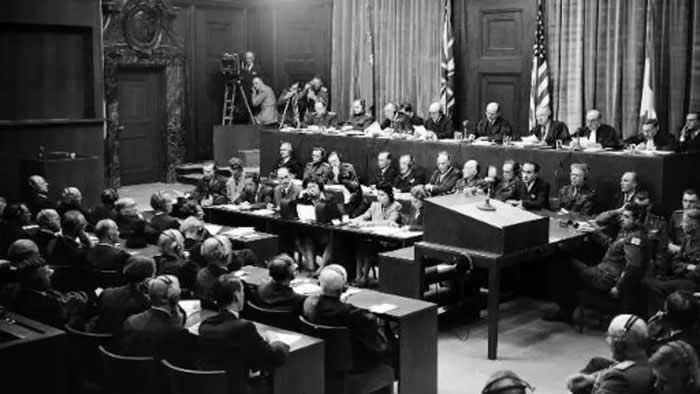 Salle d'audience du Tribunal de Nuremberg en septembre 1946. © AFP/Archives