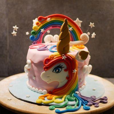 Gâteau licorne en pâte à sucre avec tutoriel