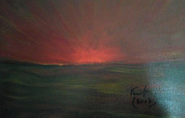 coucher de soleil sur narbonne plage,carte postale impression tableau peint,la mer le soleil l'horizon,les vacances le lointain,rouge jaune orange,bleu violet vert
