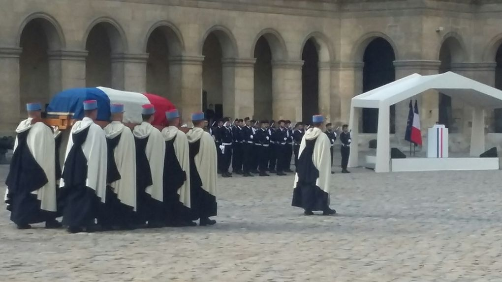 Cérémonie d'hommage national aux Invalides, Paris le 22 septembre 2017.