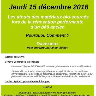 5 à 7 de l'éco-construction à Davézieux le 15/12/16 :  Les atouts des matériaux bio-sourcés lors de la rénovation performante d'un bâti ancien