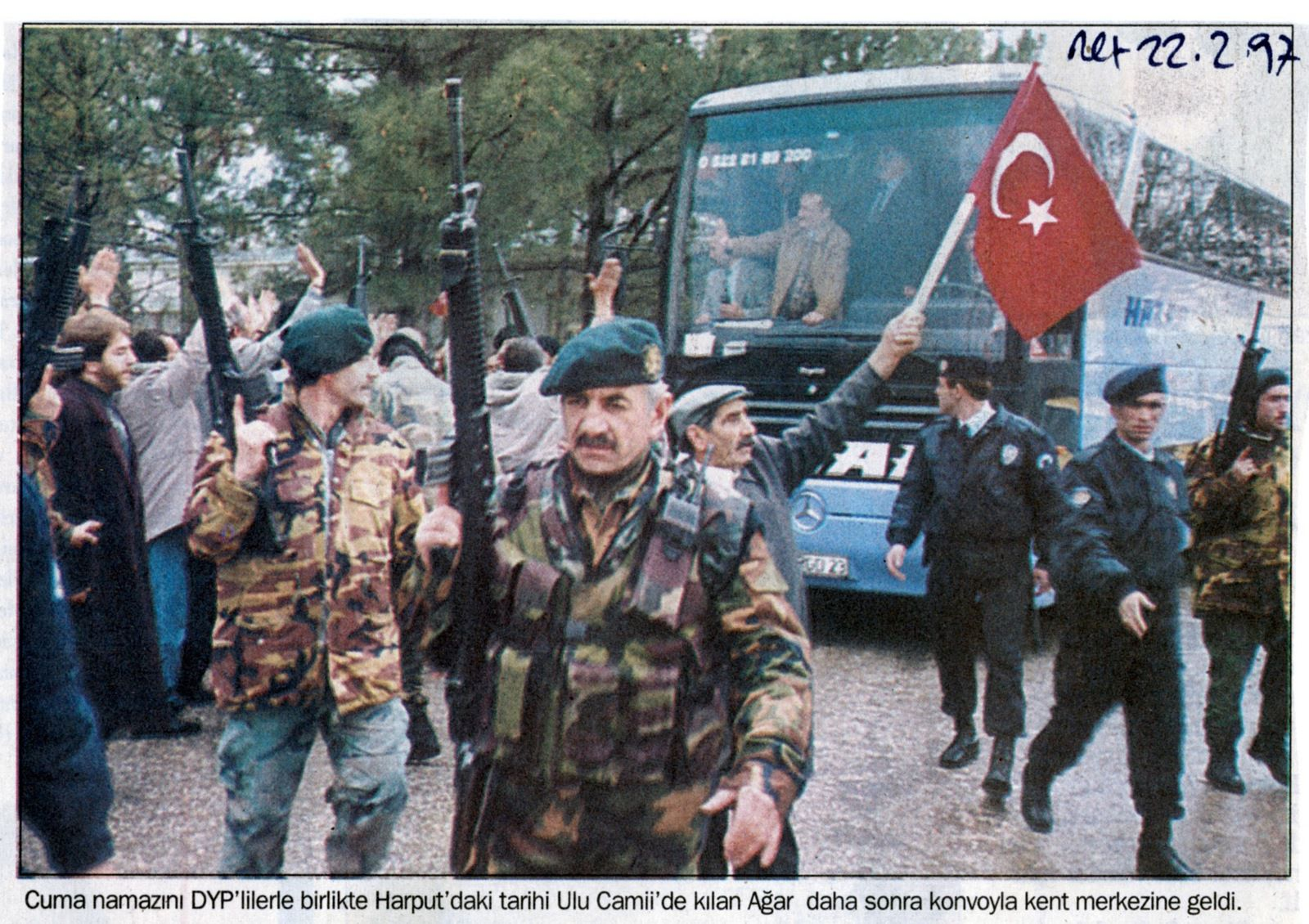 """""""After having prayed together with members of the True Path Party (DYP) at the historic Harput Mosque, a convoy brings Agar back [to Elazıg]"""". Milliyet, February 22, 1997"""
