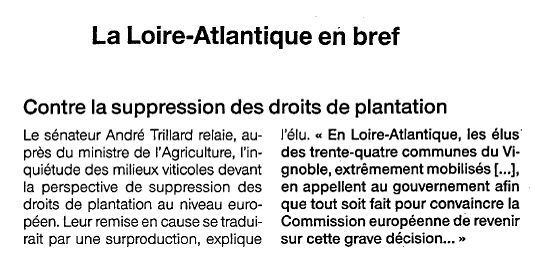 Contre la suppression des droits de plantation