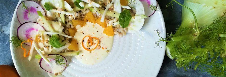 Salade fraîche de Sarrasin au Fenouil, Pomme, Radis et Orange~Cuisine légère~