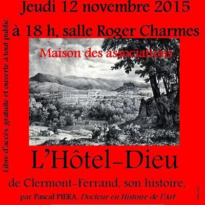 Conférence : L'Hôtel-Dieu de Clermont Ferrand, son histoire par Pascal PIERA