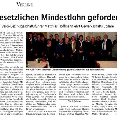Gesetzlichen Mindestlohn gefordert - ver.di Bezirksgeschäftsführer Matthias Hoffmann ehrt Gewerkschaftsjubilare