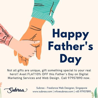 Fathers Day Promotions Logo Design Services Offered by Subraa Freelance Logo Designer Singapore