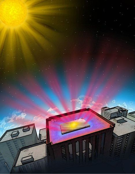 Stanford engineers have invented a transparent material that improves the efficiency of solar cells by radiating thermal energy (heat) into space (credit: Stanford Engineering)