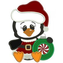 Penguin Witch a Christmas Hat Applique Machine Embroidery Digitized Design Pattern #christmas #embroidery #applique #penguin