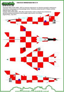 """New decal Special """"Kockica"""" Croatian Air Force"""