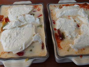 Flans poivrons, chorizo et chèvre