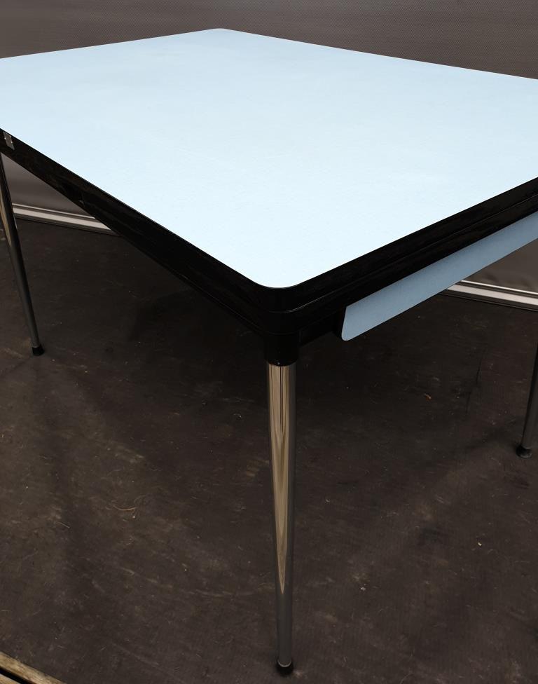 TABLE FORMICA TUBLAC 1960 BLEU 4/8 PIEDS CHROMES FUSELES - VENDU