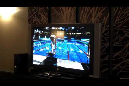 Olympian Michael Phelps demos Michael Phelps Push the Limit Xbox 360 Kinect Video Game