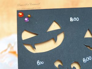 Menu - Fait main - Citrouille - Halloween - 2019 - Strass - Boo - Orange - Noir