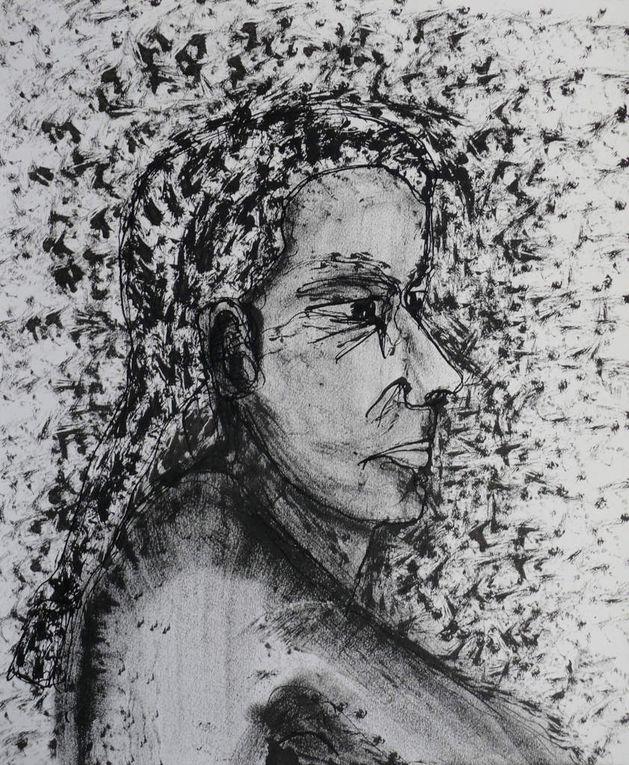 Encre noire sur papier lisse, bambou et tampon, 30 cm x 40 cm, à partir de modèles vivants