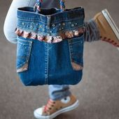 Joli sac avec un vieux jean