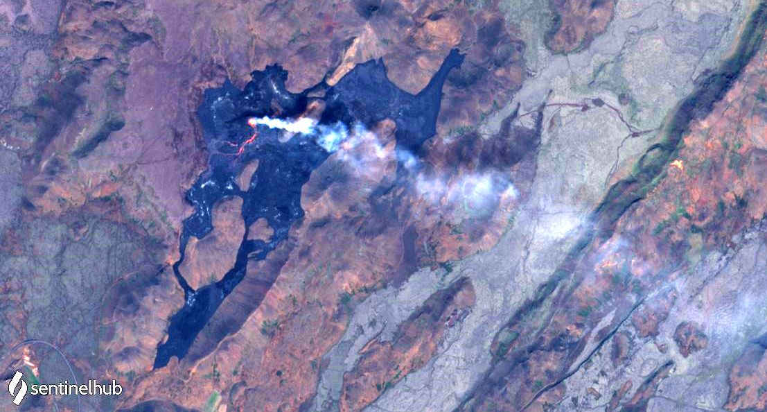 Fagradalsfjall - le champ de lave et le site éruptif - image Sentinel-2 L1C bands 4,3,2 nat. colors du 26.06.2021