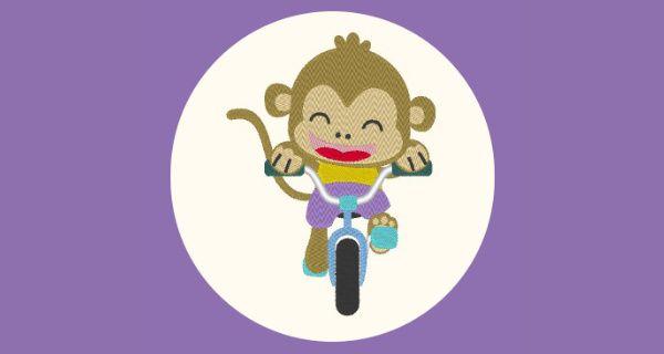 Broderie Singe à vélo