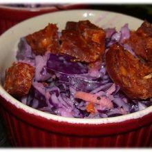 Salade croquante de chou rouge et chorizo