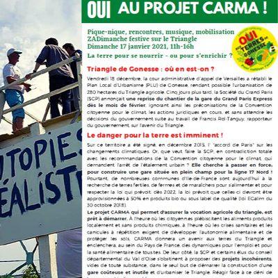 """Pour le projet CARMA contre la reprise des travaux de la gare """"Triangle de Gonesse"""""""