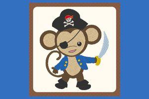 Broderie Petit singe pirate 2