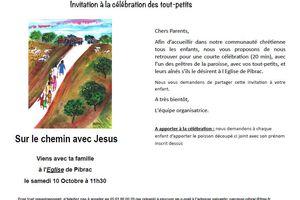 Invitation à la célébration des Tout-petits samedi 10 octobre à 11h30 à l'église de Pibrac
