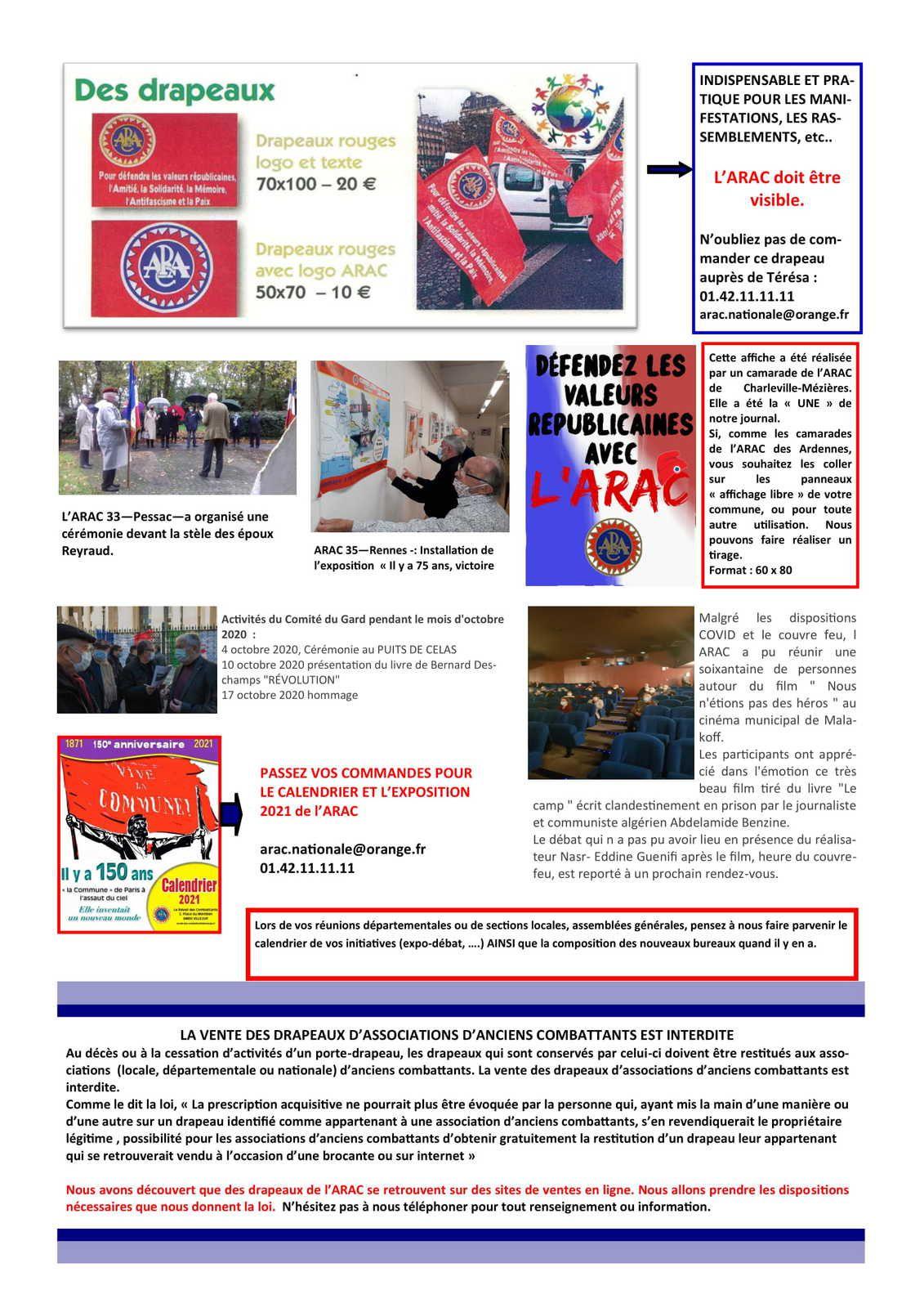Le bulletin de liaison de l'ARAC n°11 - novembre 2020