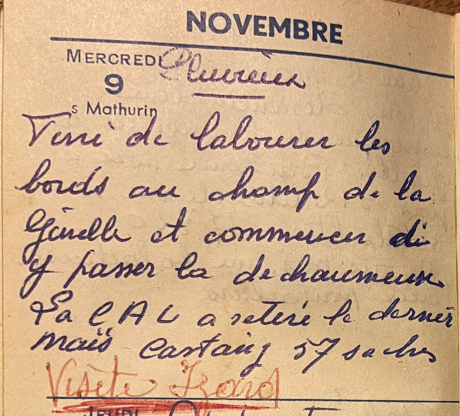 Mercredi 9 novembre 1960 - labourer et déchaumer