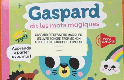 Gaspard dit des mots magiques, un livre sonore  trop mignon aux éditions Larousse Jeunesse