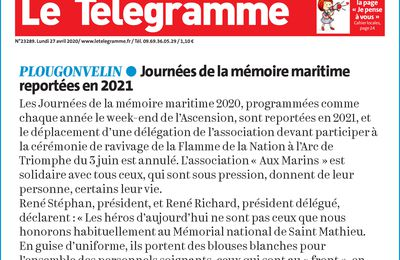 27 AVRIL 2020 - ARTICLES DE PRESSE