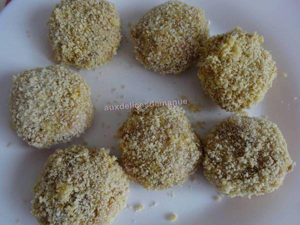 Croquettes de veau panées aux champignons et emmental