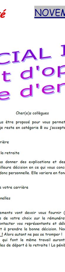 Infos Catégorie A et B