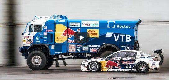 Buzz : Un camion Kamaz Dakar Drift face à une Mazda RX-8 survitaminée