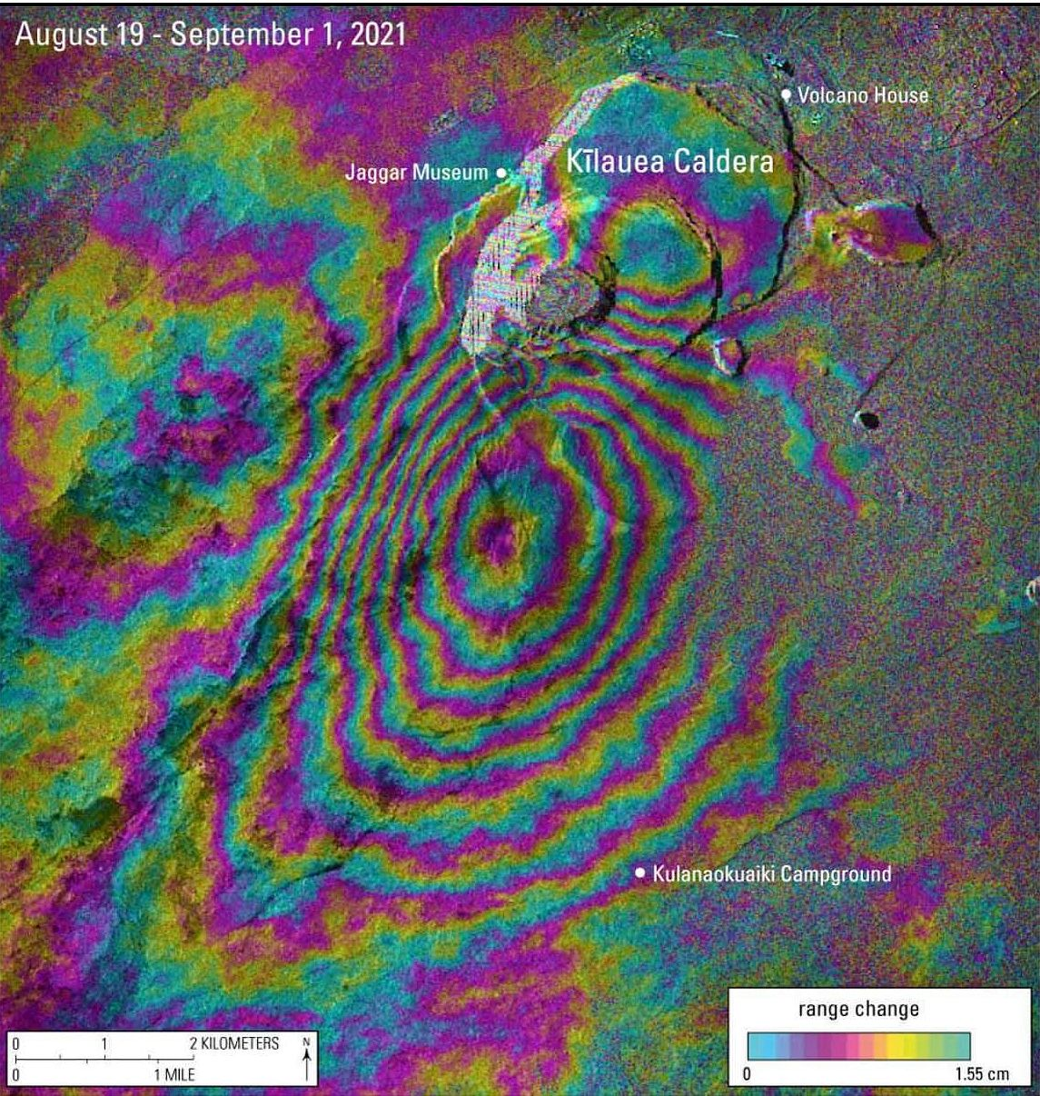 Kilauea - image interférogramme InSAR 19.08.2021 / 01.09.2021, illustrant l'intrusion magmatique au sud de l'Halema'uma'u. - Doc. USGS  - Un clic pour agrandir