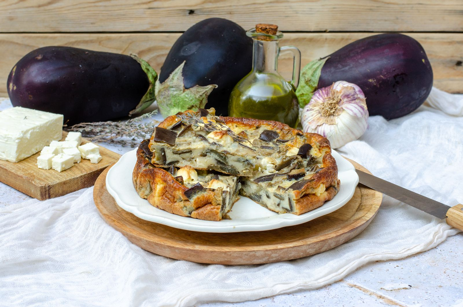 Clafoutis aubergine feta