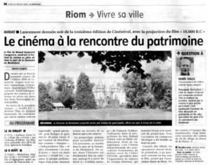 Cinestival 2008 : vendredi 18 juillet - AUBIAT - Demeure de Montclavel