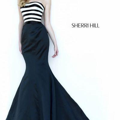 Sherri Hill 32091 Black/Ivory Mermaid Dress 2018