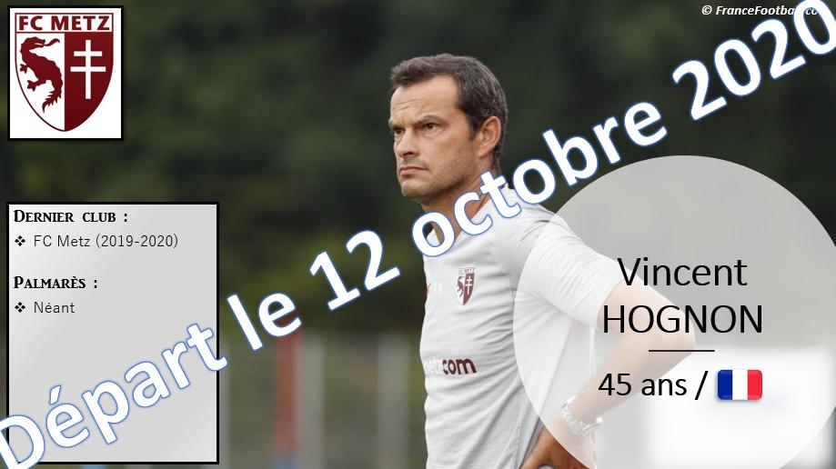 12 octobre 2020 : départ de Vincent Hognon, remplacé par Frédéric Antonetti (FC Metz).