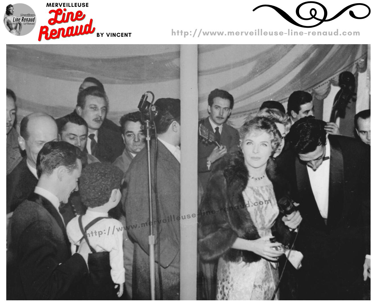 """PHOTOS: Line Renaud, Jacques Courtois et Philippe Clay dans l'émission """"36 chandelles"""" 20/01/1958"""