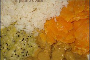 Sauté de porc à la crème de kiwi, gingembre et patates douces