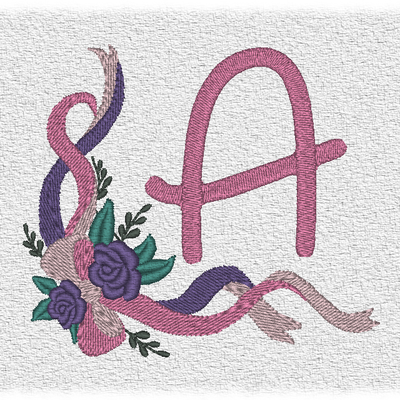 """ABC """"Rubans roses"""", la lettre A."""