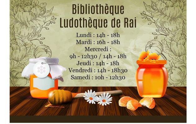 Nouveaux horaires à la bibliothèque - Ludothèque de Rai