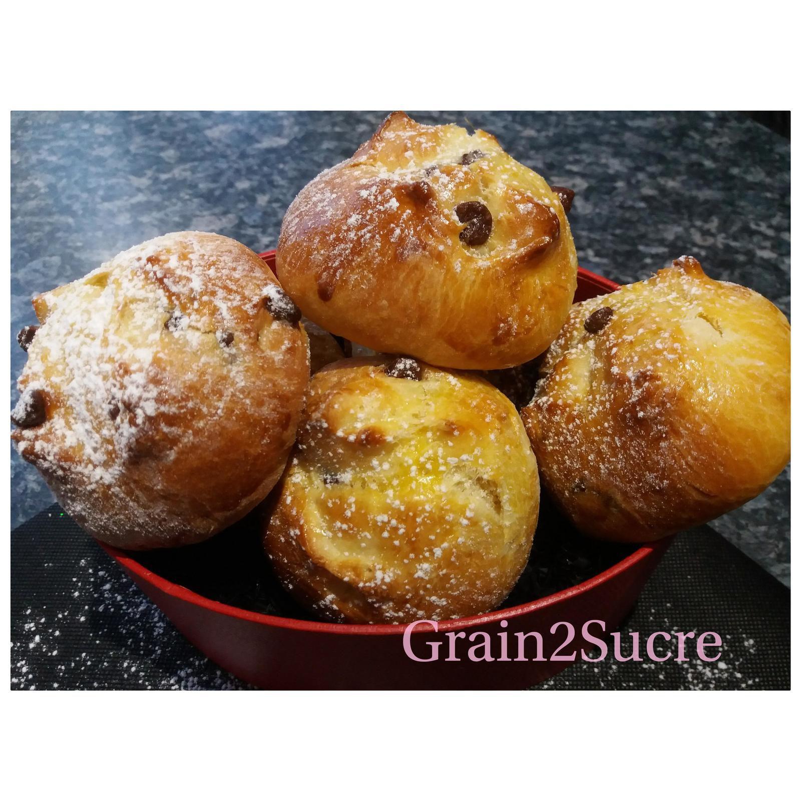 Grain2Sucre. Stolle Alsacien, farine, sucre, lait, œufs,levure fraîche, pépites de chocolat