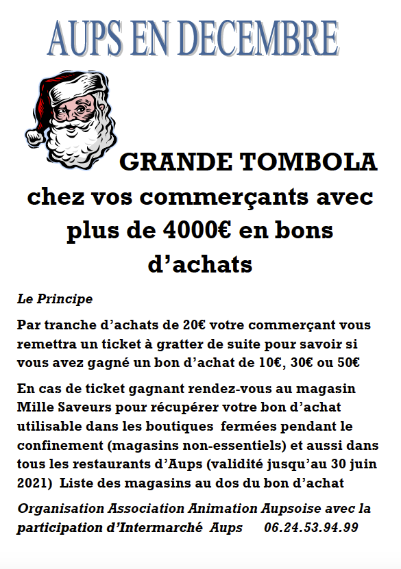 Aups Tombola solidaire