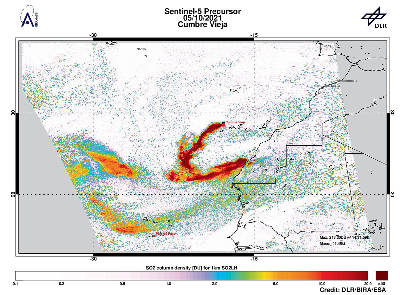 La Palma - strong SO2 signal at a distance of 15.0 km at CumbreVieja with 56.21DU of SO2 -. Weight estimated at less than 300 km 41.5 kt. - image Sentinel-5P / Tropomi 05.10.2021 - Doc. DLR / BIRA / ESA