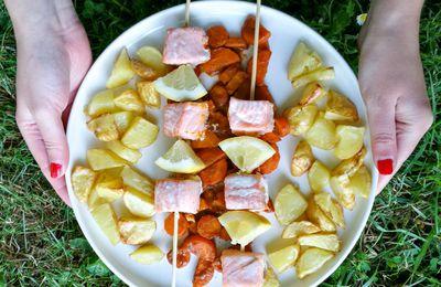 Brochettes de saumon et carottes marinade Tikka